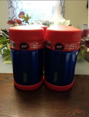 NEW~Thermos 16oz. Funtainer Wide Mouth Hot or Cold Food Jar With Spoon Red/Blue