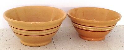 Pair Mocha Banded Brown White Antique Yellow Ware Yelloware Bowls 14 & 12 3/4