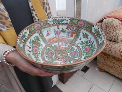 Superb Large Antique Chinese Porcelain Bowl Famille Rose Lovely Cond Circa 1900