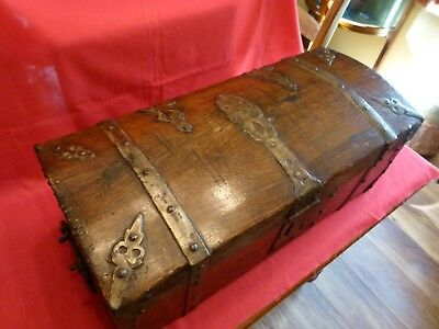 Fantastic,full Of Character,mid - Victorian Wood And Metal Bound Map Chest.
