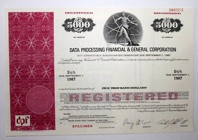 DATA PROCESSING FINANCIAL & GENERAL CORPORATION - Specimen Certificate