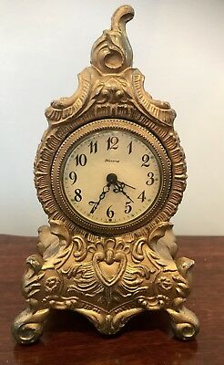 Antique Mid Century West German Blessing Gilt Louis Style Wind Up Clock
