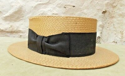Bon Ton Ivy Vintage 1930s Straw Boater Hat Size 6 7/8ths For MacQueen of London