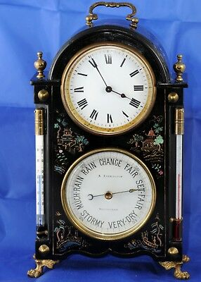 Small antique Chinoiserie clock barometer thermometer A Everington Nottingham