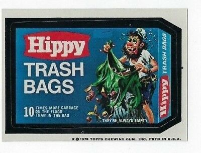 1975 Topps Wacky Packages 14th Series 14 HIPPY TRASH BAGS tb nm- o/c