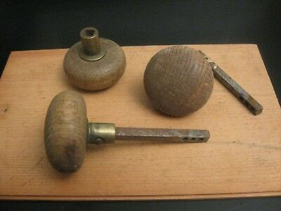 Look! ---> Set of *3* Antique/Vintage Wood Door Knobs, HTF!