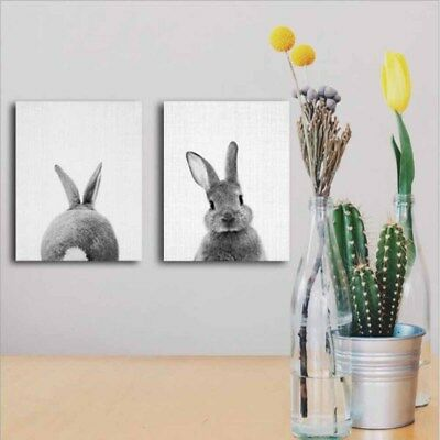 Nordic Lovely Rabbit Print Poster Wall Art Animal Canvas Painting Picture #ABF
