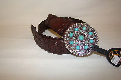 Ariat Western Leather Braided Belt Turquoise Silver tone Buckle Women's M