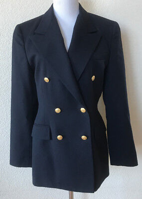 Brooks Brothers Women Navy Blue Double Breasted Gold Button Blazer Jacket Wool 6