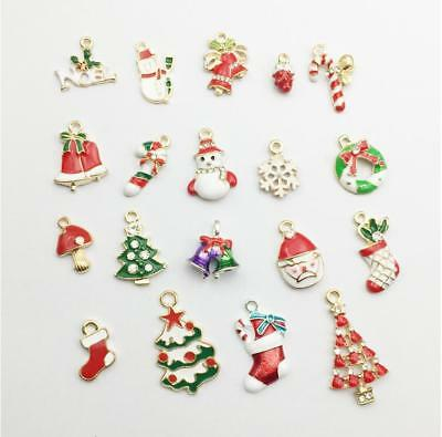 010Pcs/set Enamel Alloy Rhinestone Christmas Charm Ornament Jewellery Pendant