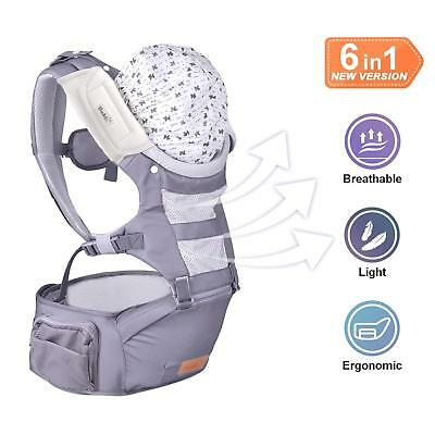 Bable G-Bolster Baby Carrier with Hip Seat, 6-in-1 Convertible Ergonomic Carrier