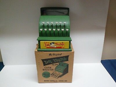 Antique Tom Thumb Pressed Steel Toy Cash Register Near Mint with Original Box