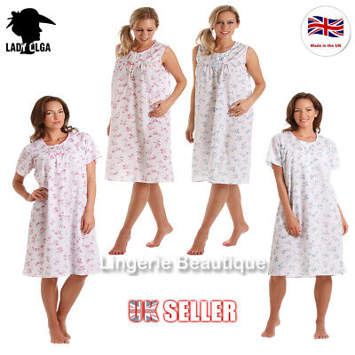 LADIES SOFT COTTON FLORAL SHORT SLEEVE NIGHTDRESS BY LADY OLGA, Size 10-32
