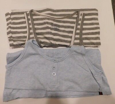 Tommy Hilfiger Ladies 2 pack Henley Tank Tops Soft Size Small Blue Gray Stripe