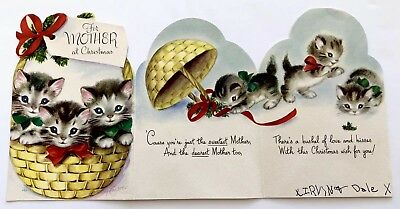 Vintage Marjorie Cooper Christmas Card Rust Craft Kitty Cat Basket Mother Bow A+