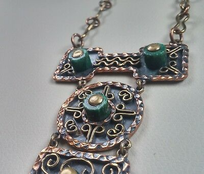 Vintage Mexican Large Chunky Copper, Brass Malachite Pendant Necklace Signed