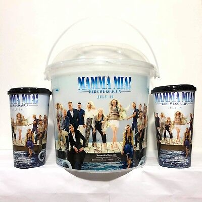 3Pcs Mamma Mia Here We Go Again Movie Cinemas Theatres Cup Buckets Popcorn
