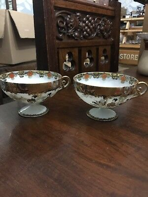 Rare Pare Of Vintage Or Antique Hand Painted Japanese Eggshell Signed Teacups