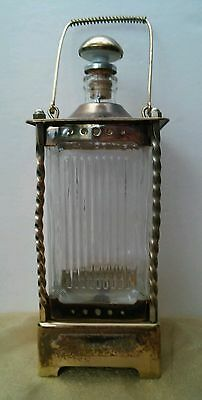 """Vintage  DECANTER LIQUER BOTTLE Music Box """"HOW DRY I AM"""" GLASS & BRASS"""