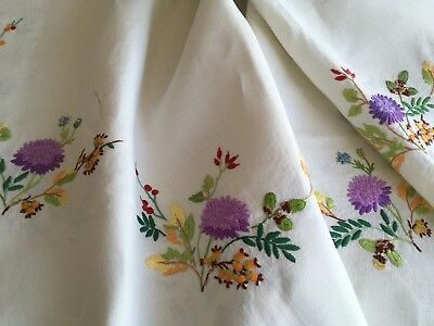 Exquisite Vintage Linen Hand Embroidered  Cream Tablecloth ~ Autumn Colours