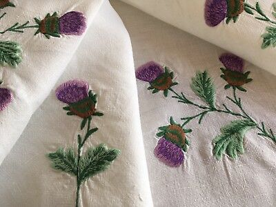 Lovely Vintage White Linen Hand Embroidered Tablecloth ~ Scottish Thistles