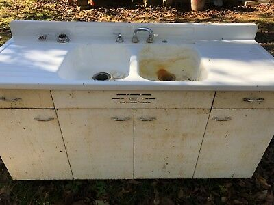 Vintage Shirley cast iron double drain sink and cabinet