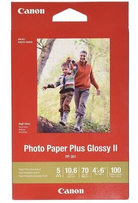 """(TWO / 2 Packs) Canon Photo Paper Plus Glossy II PP-301 4""""x6"""" 200 Sheets Total"""