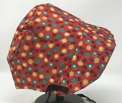 Vintage Girls Red Yellow & Green Floral Bonnet Hat