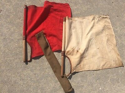 Japanese WWII Aircraft Semaphore Landing Flags With Kanji And Pouch
