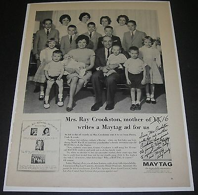 Print Ad 1963 WASHER Maytag APPLIANCE Mrs Ray Crookston Provo Utah Mother of 16.