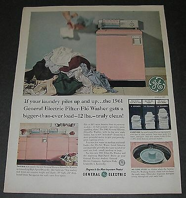 Print Ad 1961 APPLIANCE General Electric Filter-Flo Washer Pink Pile of LAUNDRY.