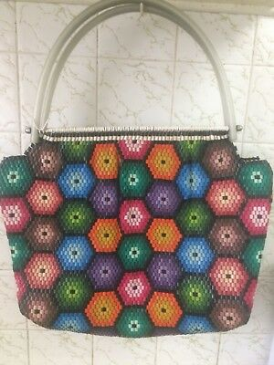 Vintage Plastic Tubing Handbag Large , Purse 60s 70s Pinup , Rockabilly, Retro