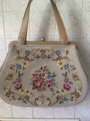 Vintage Needlepoint Purse., Tapestry Handbag Large 60s Pinup , Rockabilly, Retro