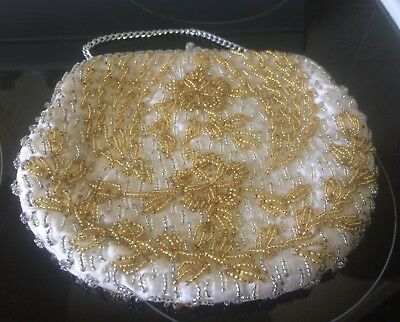 Vintage Beaded Floral Purse. , Handbag ,50s 60s ,Pinup , Rockabilly, Gatsby