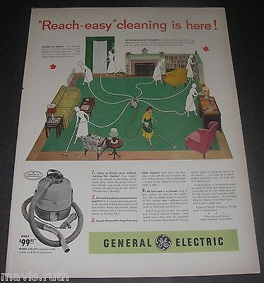 Print Ad 1952 VACUUM General Electric Cleaner ART Reach-easy cleaning APPLIANCE