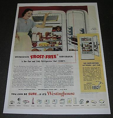 Print Ad 1951 REFRIGERATOR Westinghouse Frost-free APPLIANCE one that counts.