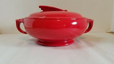 Hall's Superior Kitchenware red sundial casserole dish with lid