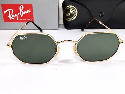 73c2dfd8205ad Ray Ban Octagonal Hexagonal Flat RB 3556 001 51 Sunglasses Gold with Green  Lens