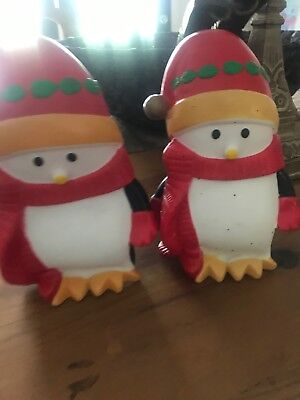 2 Vintage Christmas Blowmold Baby Penquin  Miniature Plastic Lights Up 10 ""