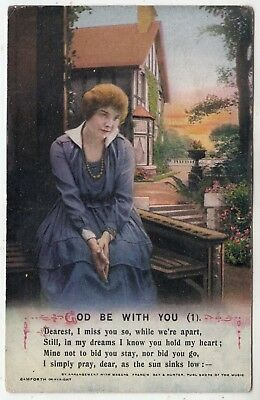 BAMFORTH SONG CARD #5025/1 - God Be With You - World War One era patriotic