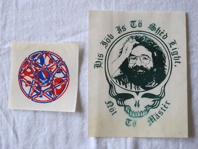 GRATEFUL DEAD Lot of 2 Stickers: Jerry and SYF (fan-made; 1990s; unused, rare)