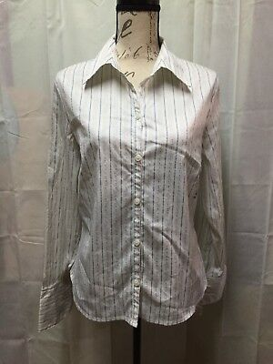 NWT Old Navy Shirt Top Large White Blue Gold Stripe Long Sleeve French Cuff Stre
