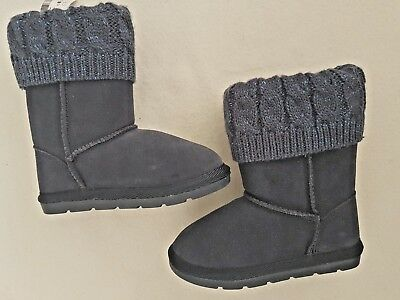 Next Girls Navy Cable Knit Suede Pull On Boots Infant Size 5 Bnwt Autumn/winter