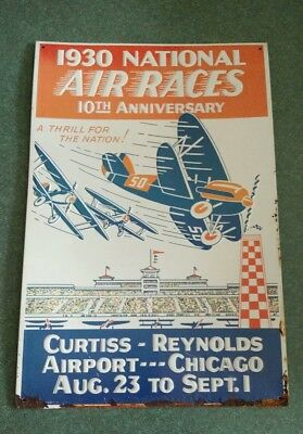 1930 National Air Races Advertisement Metal Sign AAA Sign Co. REPRODUCTION