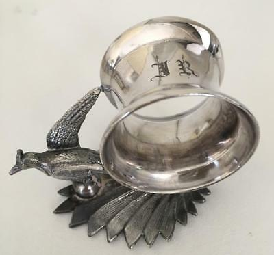 Victorian figural silverplate napkin ring.  Long tailed bird with spread wings