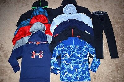 Lot of 11 Boy's Nike/Under Armour Hoodies/Long Sleeve Shirts/Pants Size M