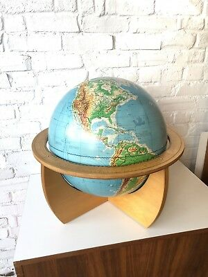 "Denoyer Geppert globe 16"" Cartocraft Visual Relief 1961"