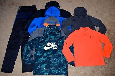 Lot of 9 Boy's Nike/Under Armour Hoodies/Long Sleeve Shirts/Pants Size L
