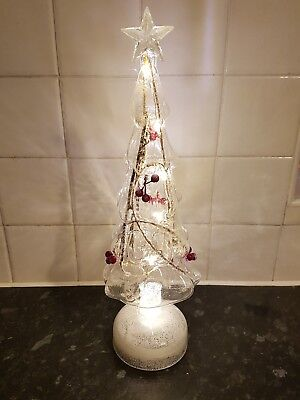 Clear Christmas Tree with Branches & Berries - with battery operated lights