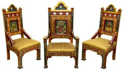 Three Scenic Polychrome Parcel Gilt Chairs, Vintage